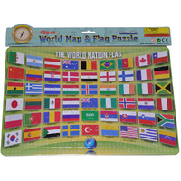 48 Pcs JIGSAW PRESCHOOL Toy Puzzle FLAGS of the WORLD Learn Geography