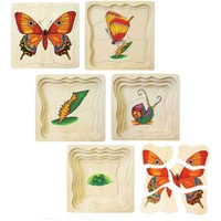 BUTTERFLY Wooden Layered Puzzle - LIFE CYCLE PRESCHOOL Educational Toy