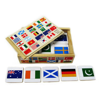 INTERNATIONAL FLAGS Wooden MEMORY Educational Game of GEOGRAPHY