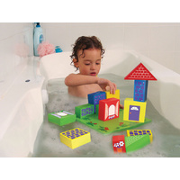 TubFun FLOATING BLOCKS Pretend WATER Play Educational Toy with Storage Net