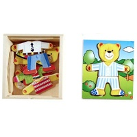 "BEAR Dressup and EMOTIONS ""Boy"" - WOODEN PUZZLE PRESCHOOL Toy"