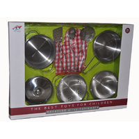 STAINLESS STEEL Toy Kitchen COOKING Set for Pretend Play - 9 pieces