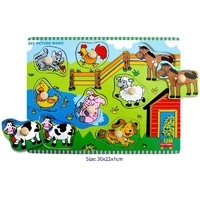 FARM ANIMALS Wooden KNOB Puzzle Educational PRESCHOOL Toy