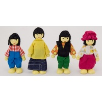 "ETHNIC ""ASIAN"" FAMILY DOLLS Wooden PRETEND & IMAGINATIVE Play Toy"