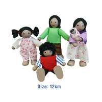 "ETHNIC ""BLACK"" FAMILY DOLLS Wooden PRETEND & IMAGINATIVE Play Toy"