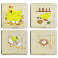 LAYERED CHICKEN Wooden Early Learning EDUCATIONAL PRESCHOOL Puzzle - LIFE CYCLE
