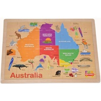 WOODEN Jigsaw Puzzle MAP of AUSTRALIA - GEOGRAPHY Educational Preschool Toy