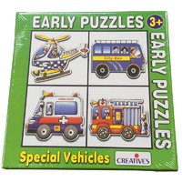 Early Puzzles SPECIAL & Emergency VEHICLES - 4 Shaped JIGSAW PRESCHOOL Puzzles