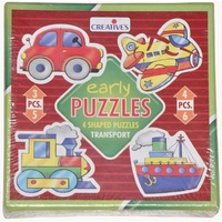 Early Puzzles TRANSPORT - 4 Shaped JIGSAW Puzzles TODDLERS & PRESCHOOLERS