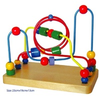 Kids WOODEN 3 WIRE Bead Maze EDUCATIONAL TOY Activity for Toddlers