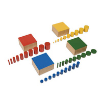 MONTESSORI Wooden KNOBLESS Cylinders - 4 Multicoloured Sets