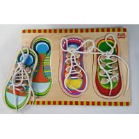 THREE Wooden SHOE LACING THREADING PUZZLES Preschool Educational Toy