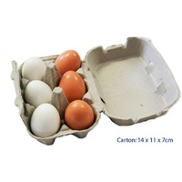 Six WOODEN EGGS in Carton HALF DOZEN - PRETEND Play FOOD
