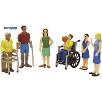 DOLLS People with DISABILITY IMPAIRMENTS Handicap Set of SIX Figurines EDUCATIONAL Toy