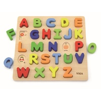 Upper Case ALPHABET Raised WOODEN PUZZLE Preschool Toy