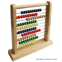 CLASSIC ABACUS with Metal Bars Learn Math Educational Wooden TOY Addition & Subtraction