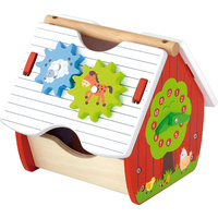 Wooden FARM HOUSE ACTIVITY Set SHAPE Sorter Toddler TOY with Clock