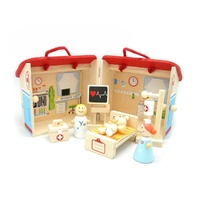 WOODEN Educational Toy HOSPITAL SET in Storage Box with Handles PRETEND PLAY PRESCHOOL
