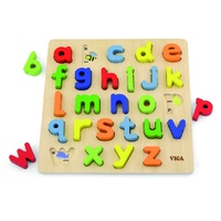 LOWER Case ALPHABET Raised WOODEN Block Matching PUZZLE Preschool Toy