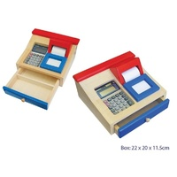 TOY Wooden CASH REGISTER Draw with Solar CALCULATOR and PAPER ROLL