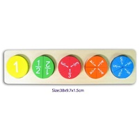 WOODEN Puzzle FRACTIONS Circles Educational TOY with Stand MATHS 1 - 1/5