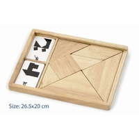 Wooden TANGRAM Puzzle SET Educational BRAINTEASER TOY Kids Game Box