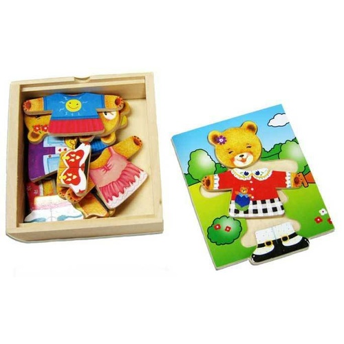 "BEAR Dressup and EMOTIONS ""Girl"" - WOODEN PUZZLE PRESCHOOL Toy"