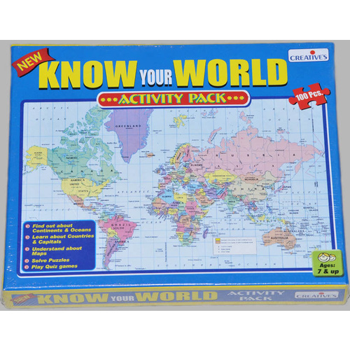 KNOW YOUR WORLD Educational JIGSAW PUZZLE Game of GEOGRAPHY HOMESCHOOL Material