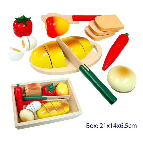 PRETEND Play VELCRO BREAD Fruit & Veg FOOD PICNIC Wooden BOX Educational Toy