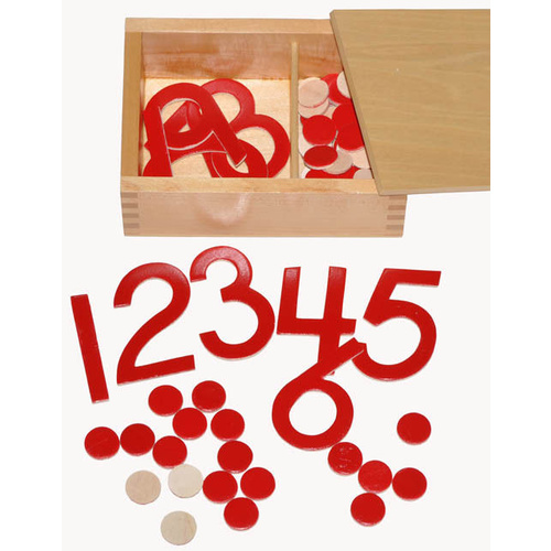 MONTESSORI CUT-OUT Numerals and Counters with WOODEN Box - Mathematics EXERCISE