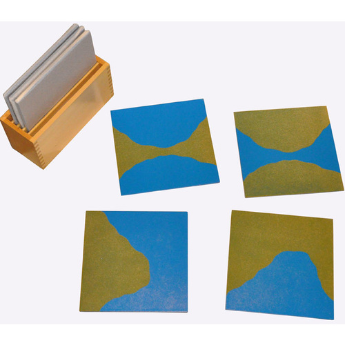 MONTESSORI LAND FORMS Wooden SANDPAPER CARDS with Wooden Case
