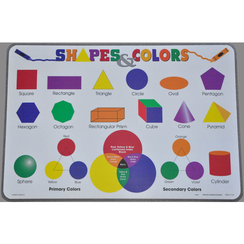LEARN SHAPES and COLOURS Educational Early Learning Preschool PLACEMAT
