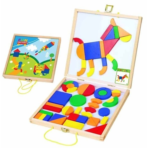 MAGNETIC Wooden SHAPES Activity Set in Carry Case PRESCHOOL Toy