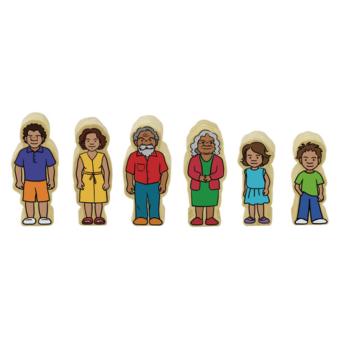 Aboriginal Indigenous People FAMILY Wooden Figurines Dolls 6 PCS