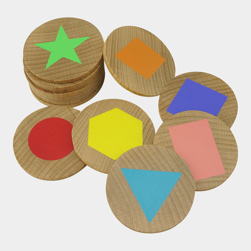MEMORY GAME Matching Pairs - SHAPES Educational Wooden Game in a Bag