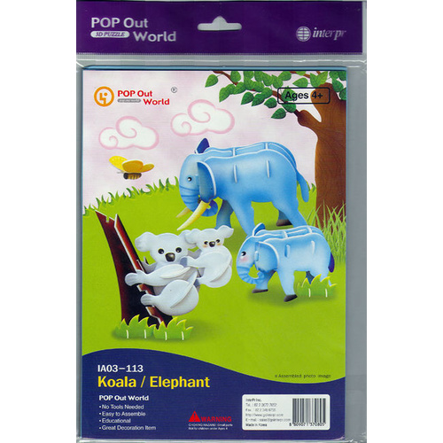 POP Out World 3D PUZZLE Animals KOALA & ELEPHANT Mother & Baby