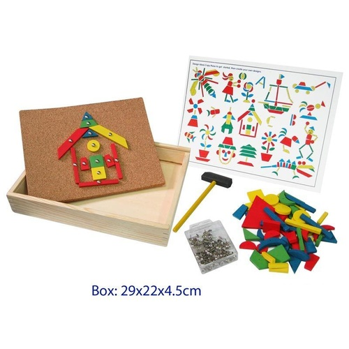 TAP TAP Mosaic SET Hammer Nail CORKBOARD Wooden Educational TOY