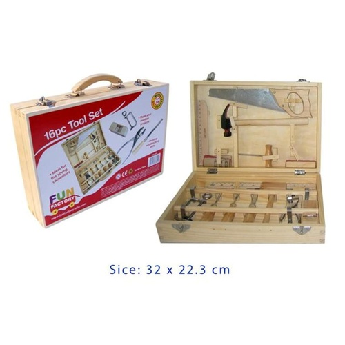 WOODEN TOY TOOL Set Box CARPENTER Kids Tools in Carry CASE